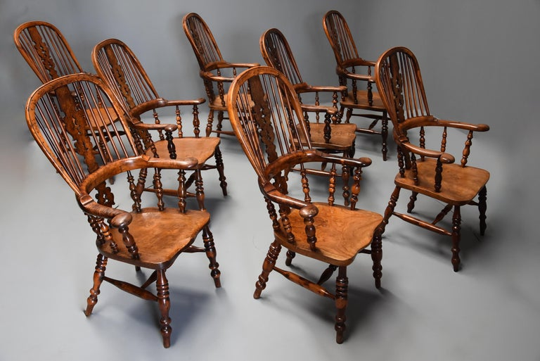 English Superb Rare Set of Eight Burr Yew Broad Arm High Back Windsor Armchairs For Sale