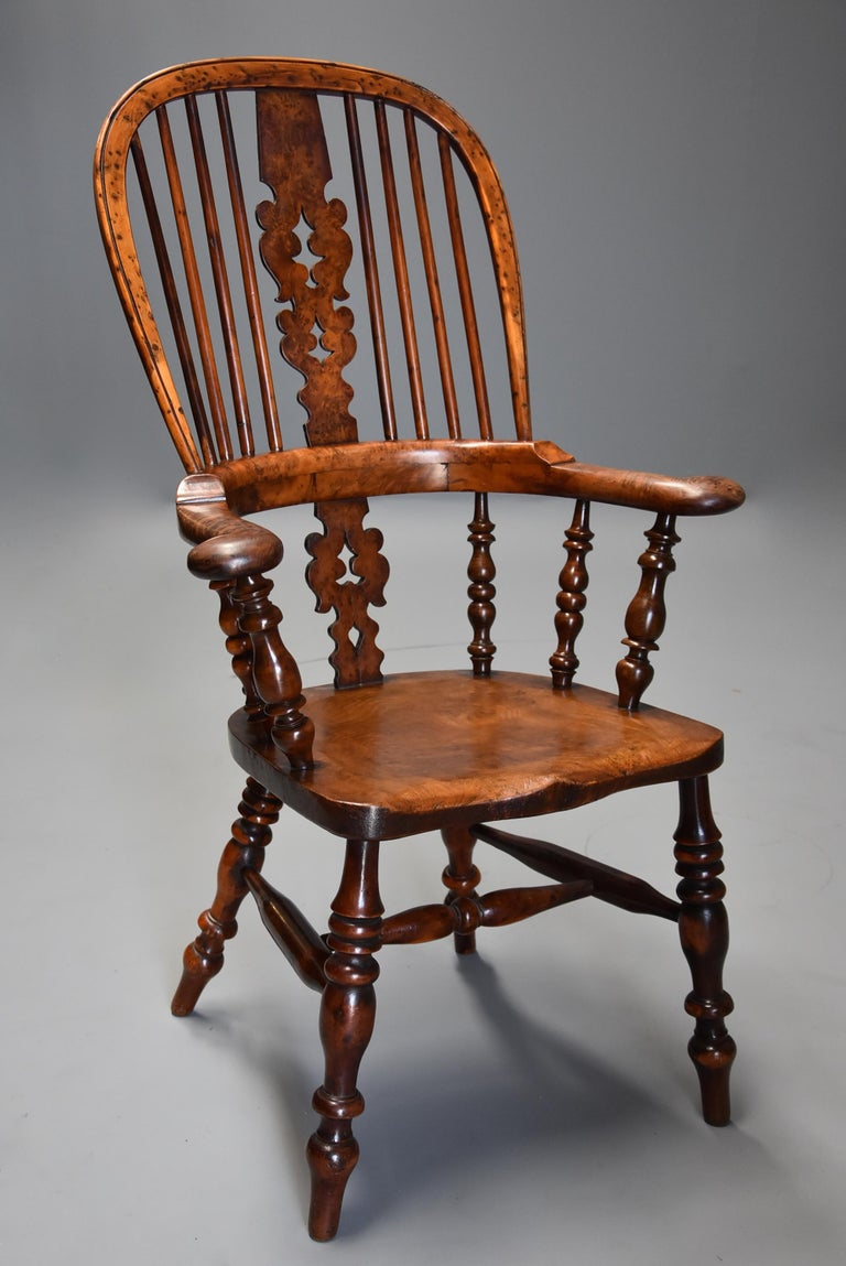 19th Century Superb Rare Set of Eight Burr Yew Broad Arm High Back Windsor Armchairs For Sale
