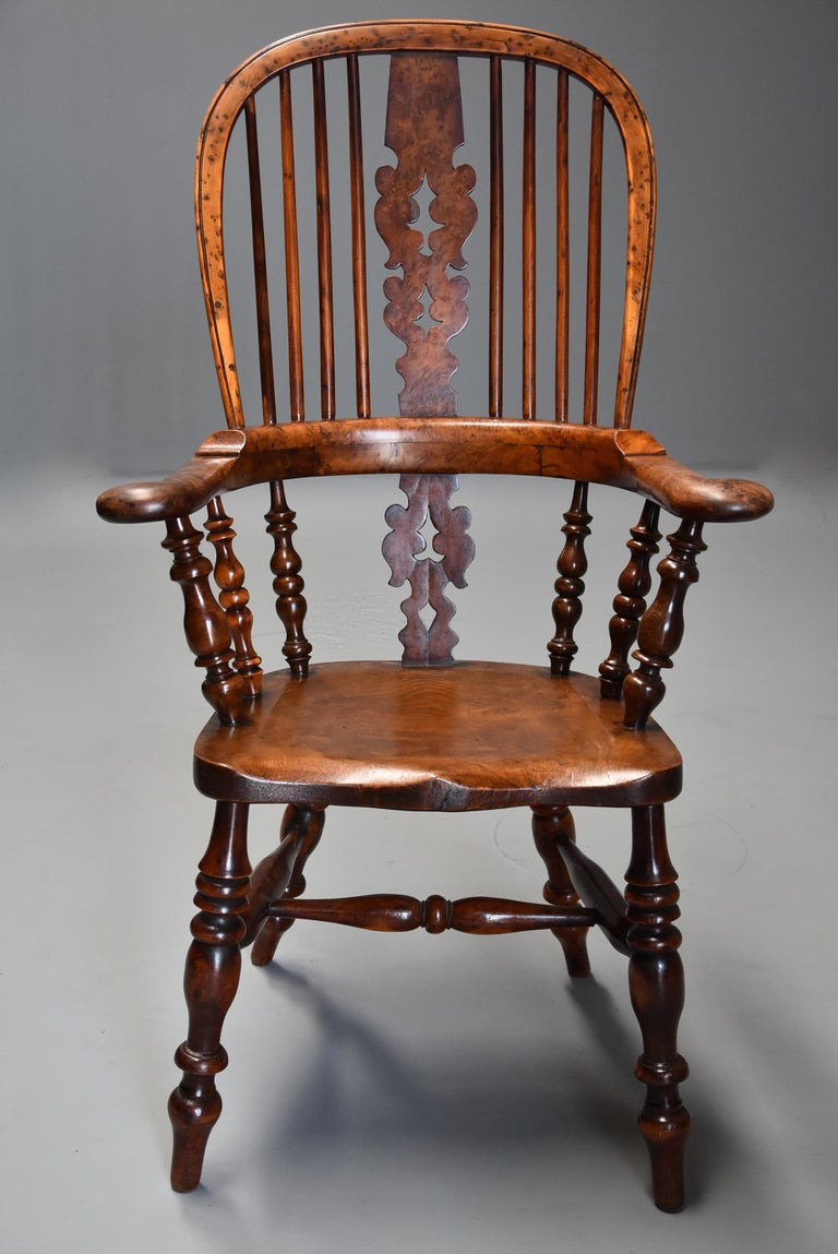 Superb Rare Set of Eight Burr Yew Broad Arm High Back Windsor Armchairs For Sale 1
