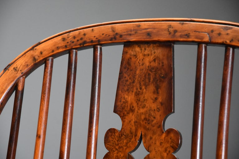 Superb Rare Set of Eight Burr Yew Broad Arm High Back Windsor Armchairs For Sale 3