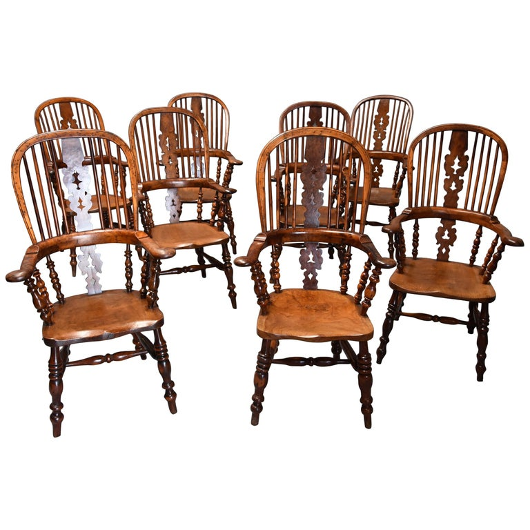 Superb Rare Set of Eight Burr Yew Broad Arm High Back Windsor Armchairs For Sale