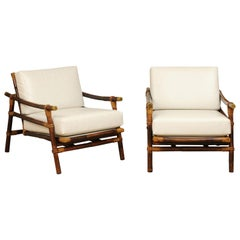 Superb Restored Pair of Campaign Loungers by Wisner for Ficks Reed, circa 1954