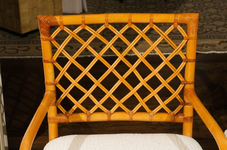 Superb Restored Set of Eight Vintage Rattan and Cane Lattice Back Dining Chairs For Sale 4