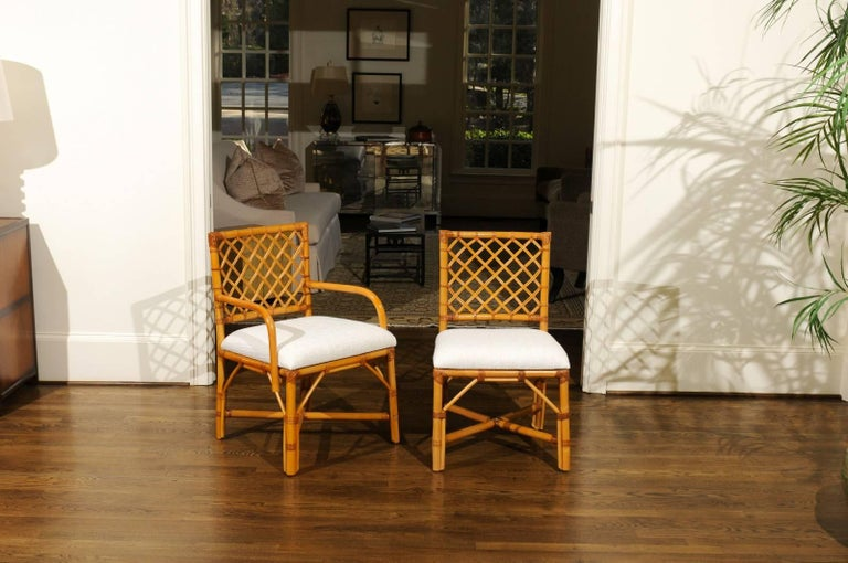 Mid-Century Modern Superb Restored Set of Eight Vintage Rattan and Cane Lattice Back Dining Chairs For Sale