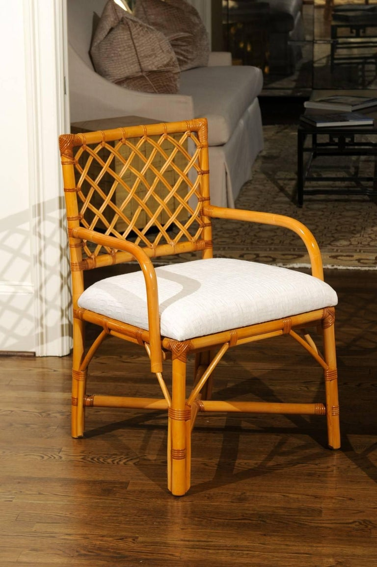 American Superb Restored Set of Eight Vintage Rattan and Cane Lattice Back Dining Chairs For Sale
