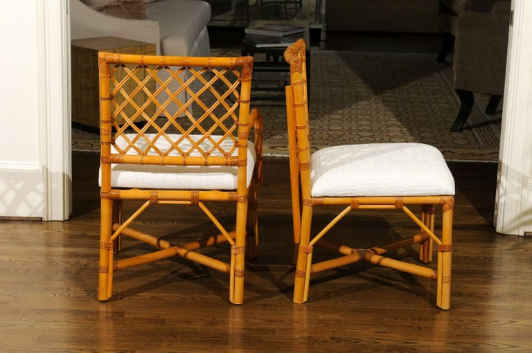 Late 20th Century Superb Restored Set of Eight Vintage Rattan and Cane Lattice Back Dining Chairs For Sale