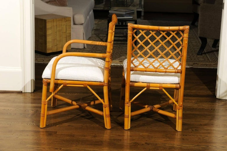 Superb Restored Set of Eight Vintage Rattan and Cane Lattice Back Dining Chairs For Sale 1