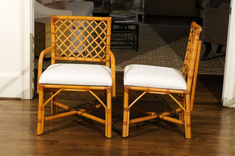 Superb Restored Set of Eight Vintage Rattan and Cane Lattice Back Dining Chairs For Sale 2