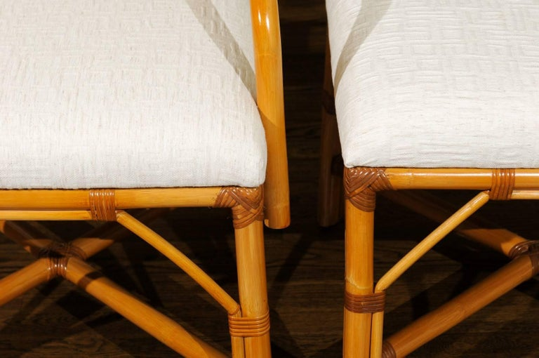 Superb Restored Set of Eight Vintage Rattan and Cane Lattice Back Dining Chairs For Sale 3