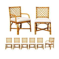 Superb Restored Set of Eight Vintage Rattan and Cane Lattice Back Dining Chairs