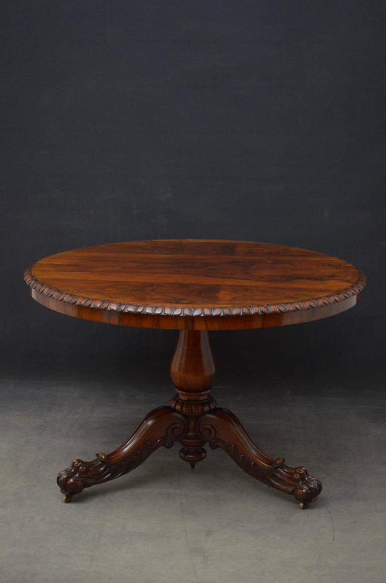 William IV Superb Rosewood Centre Table, Stamped Gillows For Sale