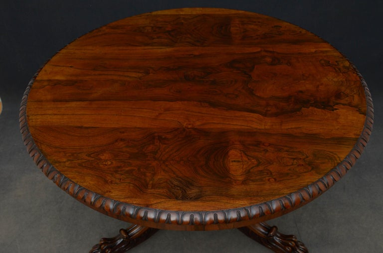 British Superb Rosewood Centre Table, Stamped Gillows For Sale
