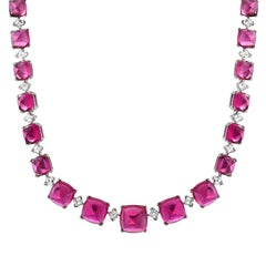 Superb Rubellite Tourmaline Diamond Platinum Necklace