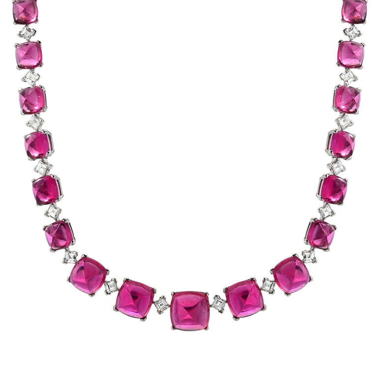 Superb Rubellite Tourmaline Diamond Platinum Necklace