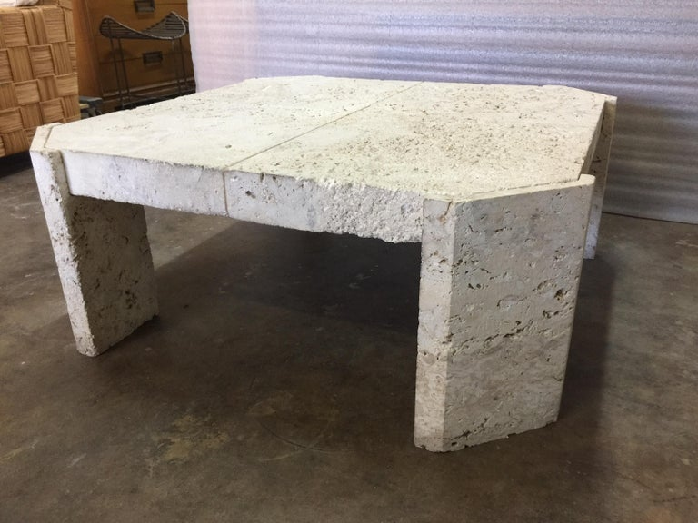 Mid-Century Modern Superb Samuel Marx Style Natural Coquina Coral Stone Coffee Table For Sale