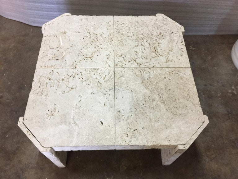 Superb Samuel Marx Style Natural Coquina Coral Stone Coffee Table For Sale 1