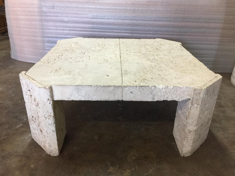 Superb Samuel Marx Style Natural Coquina Coral Stone Coffee Table For Sale 3