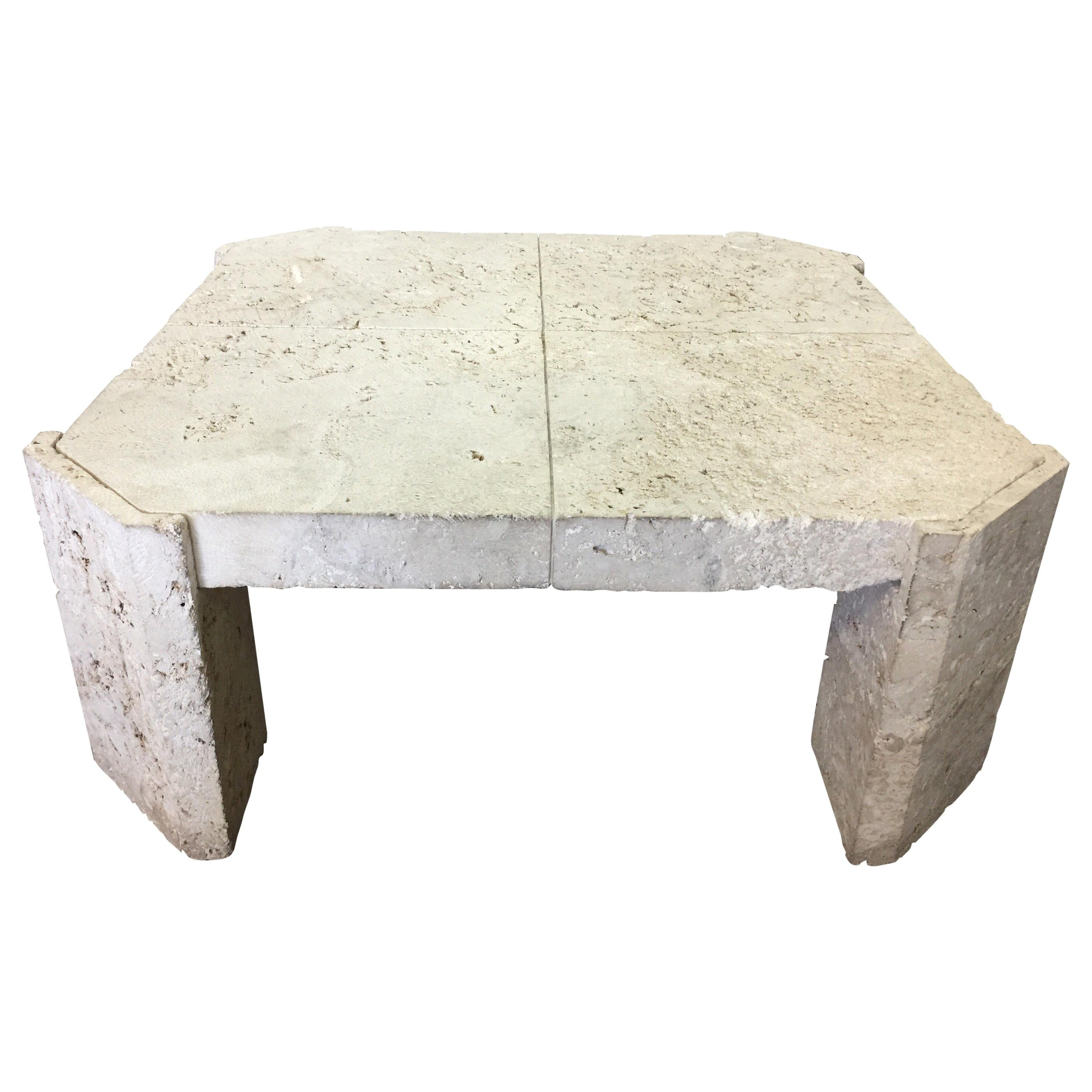Superb Samuel Marx Style Natural Coquina Coral Stone Coffee Table