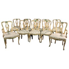 Superb Set of 10 Paint Decorated Italian Venetian Florentine Dining Chairs