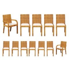 Superb Set of 12 Cane Wrapped Dining Chairs in the Style of Billy Baldwin, 1975