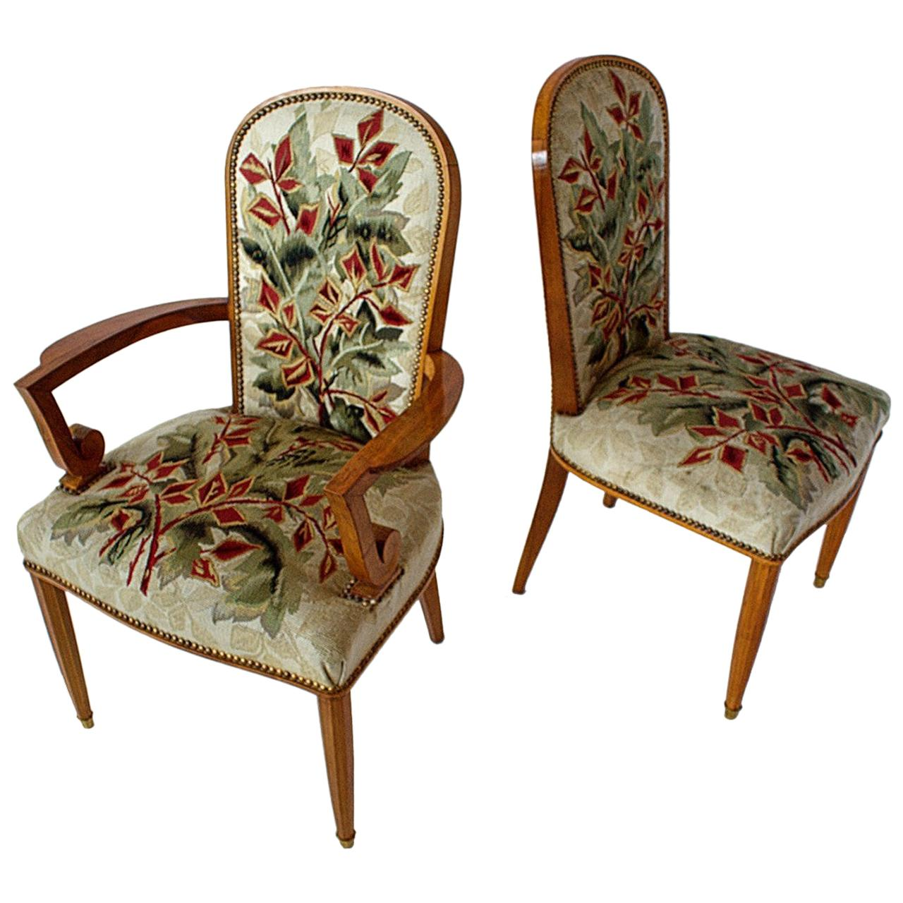 Superb Set of 12 French Modern Fruitwood & Tapestry Dining Chairs, Jules Leleu