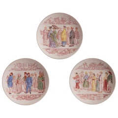 Superb Set of 3 French Sarreguemines Faïence Plates Made Between 1875 and 1900