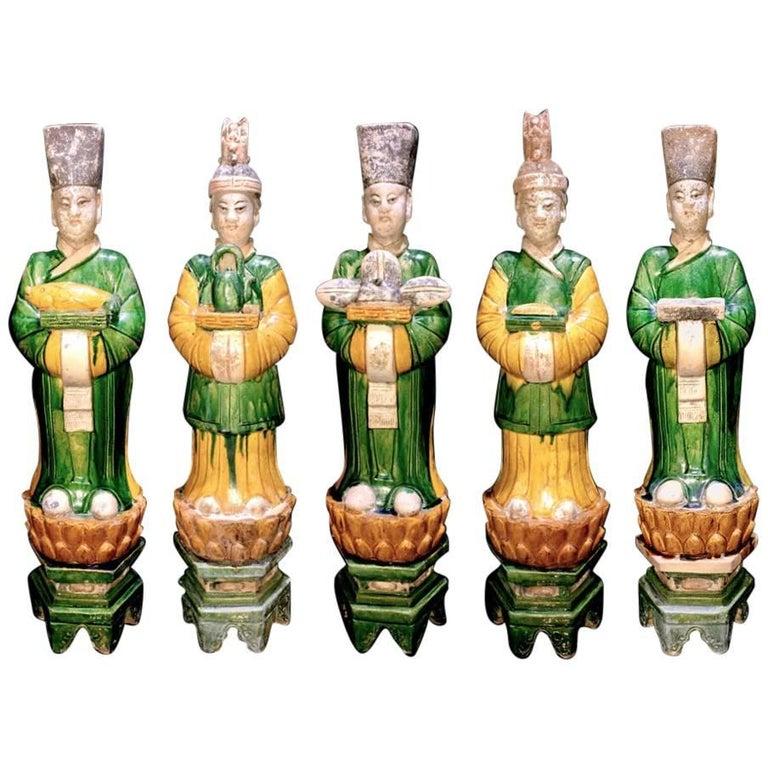 Superb Set of 5 Elegant Court Attendants, Ming Dynasty, 1368-1644 AD  TL Tested For Sale