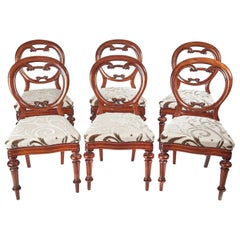 Superb Set of 6 Antique Victorian Mahogany Balloon Back Chairs
