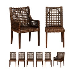 Superb Set of 8 Cerused Mahogany and Cane Dining Chairs in Aged Tobacco