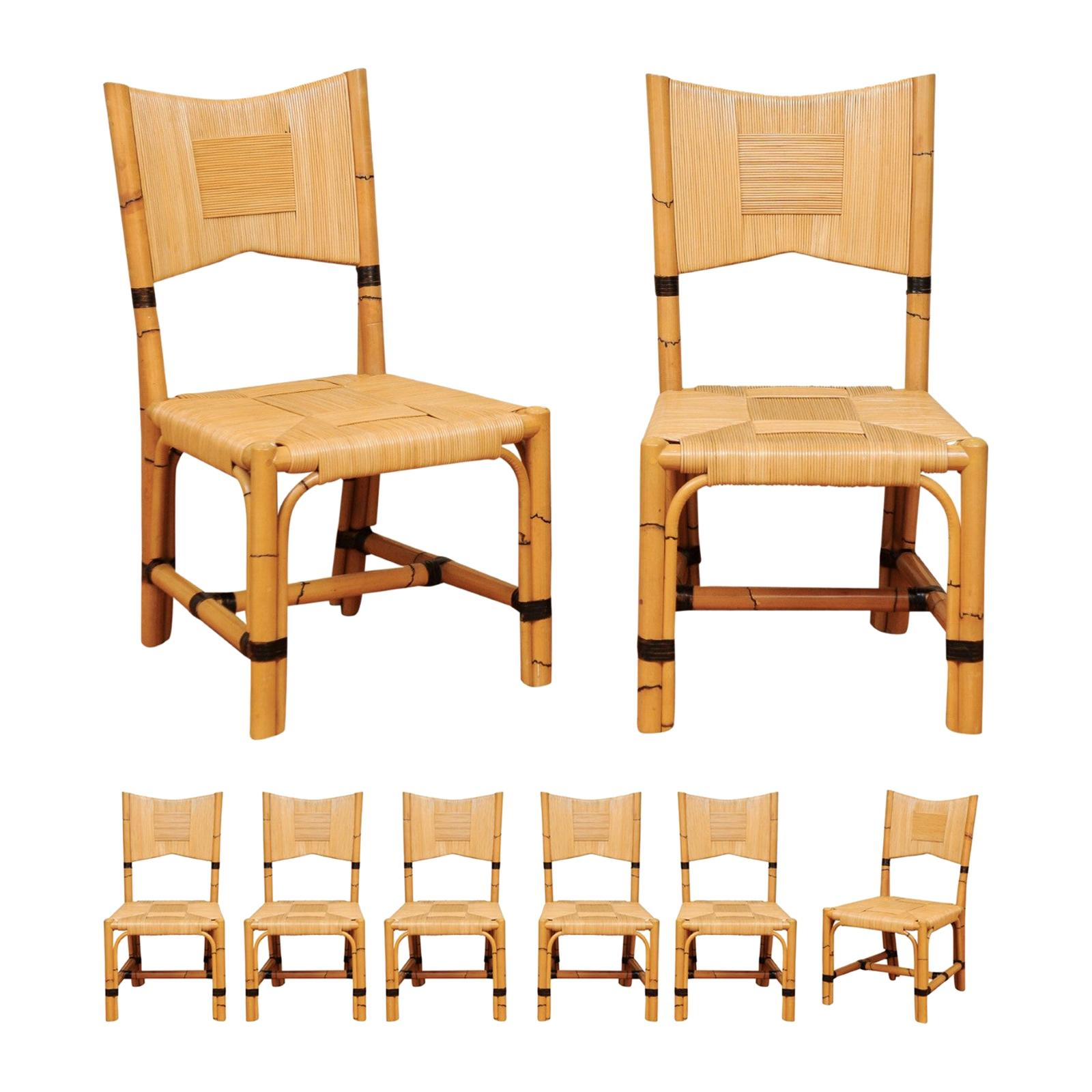 Superb Set of 8 Rush Rattan Dining Chairs by John Hutton for Donghia, circa 1995