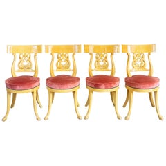 Superb Set of Italian Chairs in Yellow Gold Lacquered Wood, circa 1950
