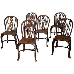 Superb Set of Six Ash and Beech Wheelback Windsor Chairs with Cabriole Leg