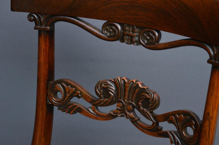 Superb Set of Six William IV Rosewood Dining Chairs In Good Condition For Sale In Whaley Bridge, GB