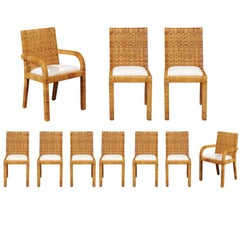 Superb Set of Ten Cane Wrapped Dining Chairs in the Style of Billy Baldwin