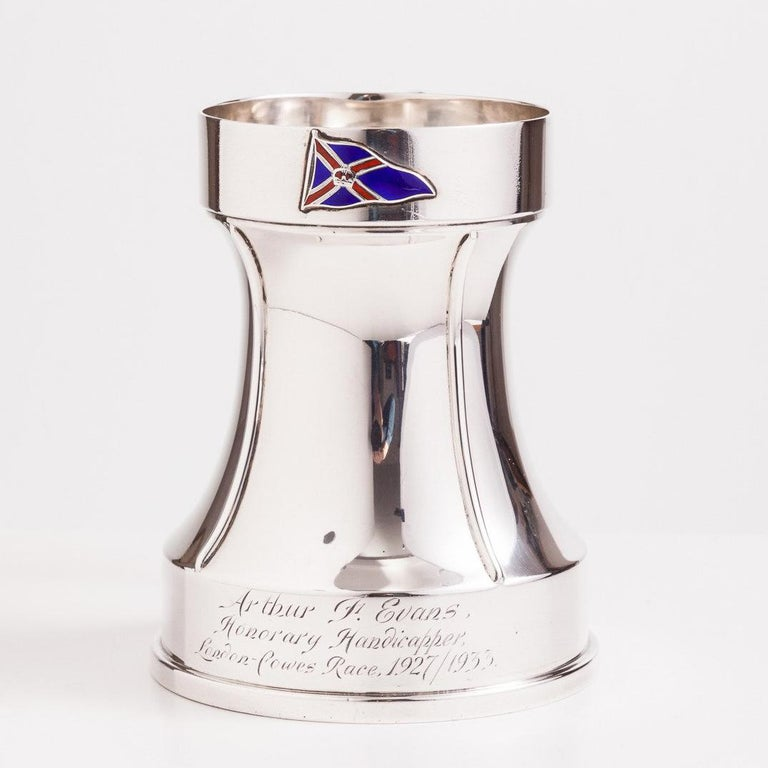 """Superb silver tankard with a nautical theme by makers Richard Pringle and date London, 1933.  Decorated with the following inscription: """"Arthur F Evans Honorary Handicapper London to Cowes Race 1927-1935.""""  We are always adding to our 1stdibs"""