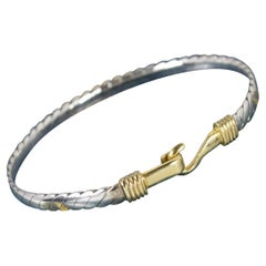 Superb Solid 18ct Gold and Silver Torque Bangle