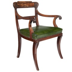 Superb Untouched Regency Mahogany Open Armchair with Leather Seat