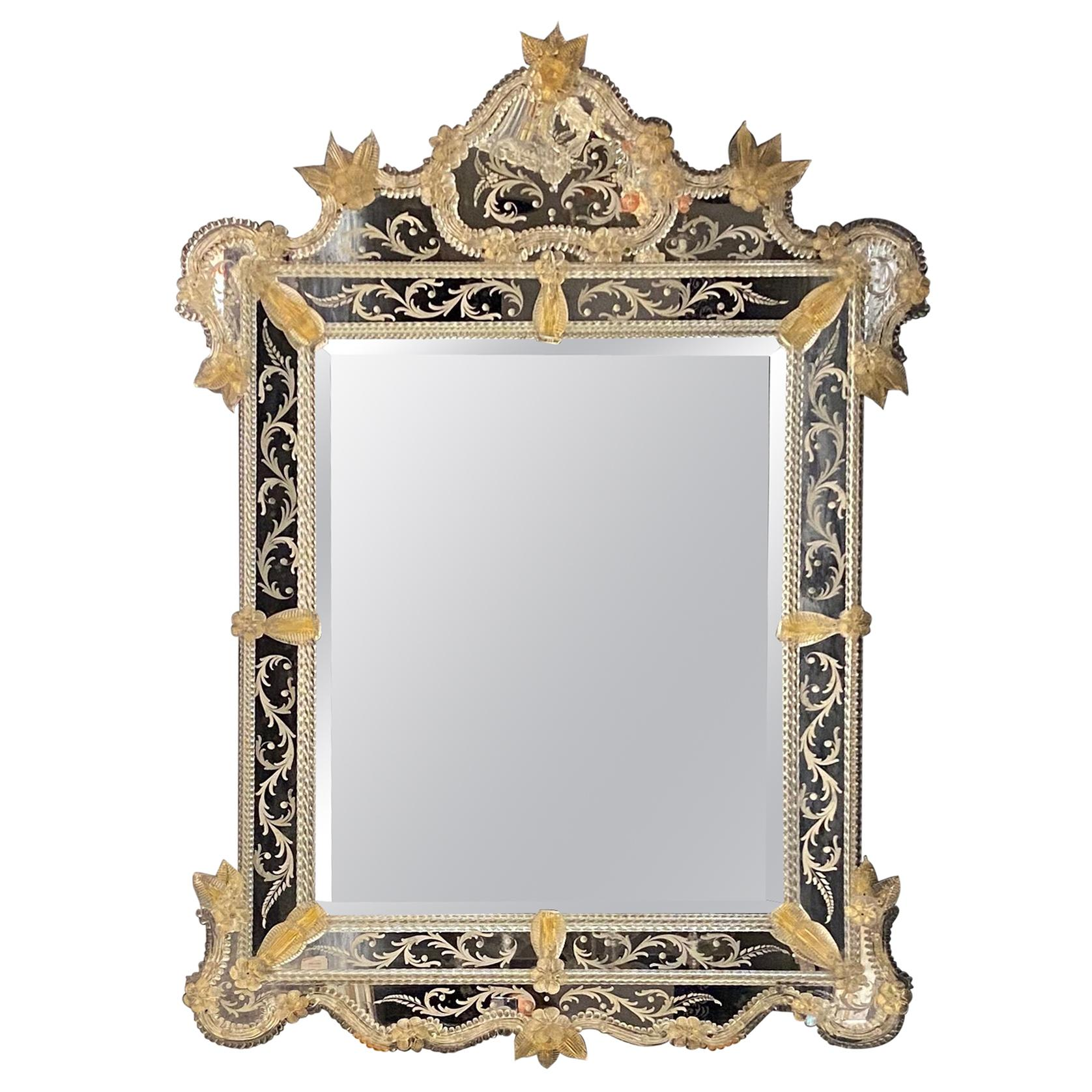 Superb Venetian Etched Murano Glass Mirror