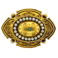 Superb Victorian 14 Karat Yellow Gold Pearl and Turquoise Brooch