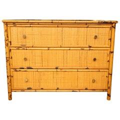 Superb Vintage Bamboo and Rattan Dresser
