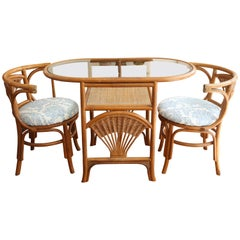 Superb Vintage Bamboo Bistro Table with Two Chairs