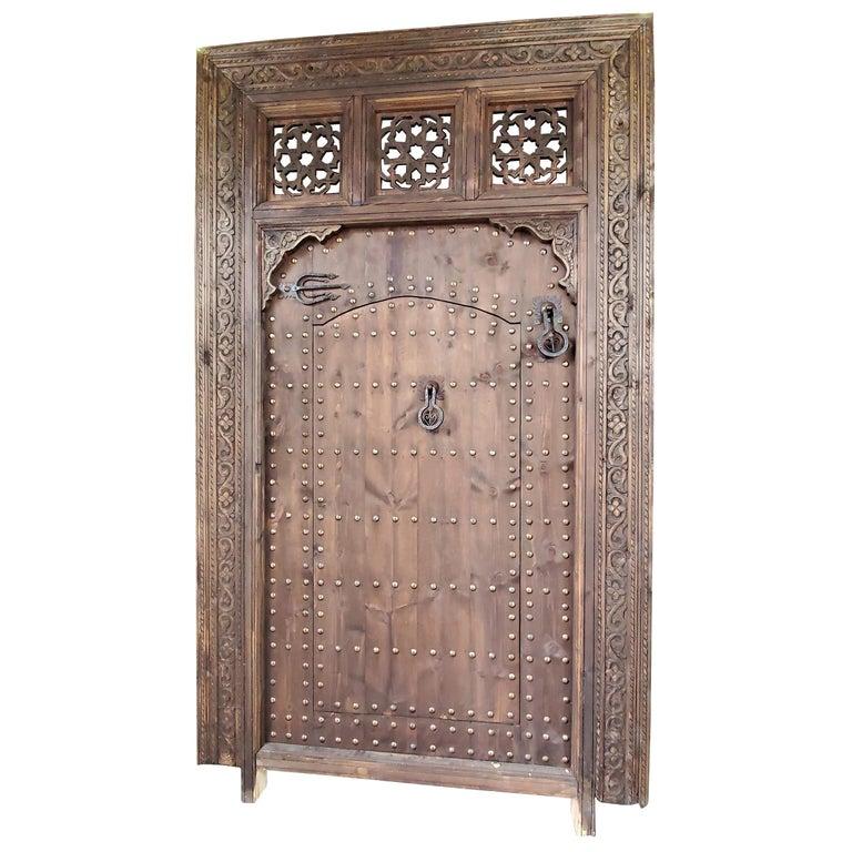 Superb Vintage Handmade Moorish Carved Door Within a Door For Sale