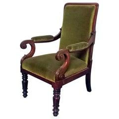 Superb William IV Mahogany Library Chair, circa 1820