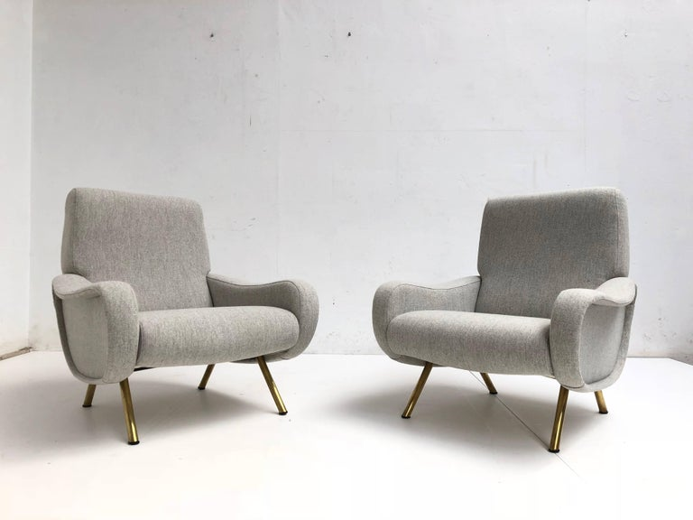 Superb pair of Restored Marco Zanuso 'Lady' Chairs, Early Wood Frames Italy 1951 For Sale 1