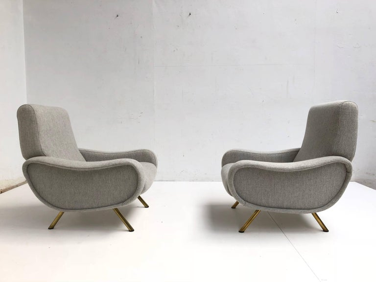Superb pair of Restored Marco Zanuso 'Lady' Chairs, Early Wood Frames Italy 1951 In Good Condition For Sale In bergen op zoom, NL