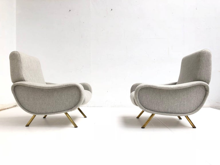 Mid-Century Modern Superb pair of Restored Marco Zanuso 'Lady' Chairs, Early Wood Frames Italy 1951 For Sale