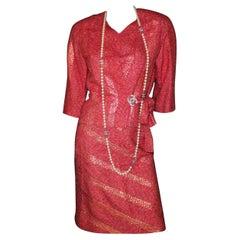 Superbe Chanel Coral Gold Fantasy Tweed Boucle Skirt Jacket Blazer Suit