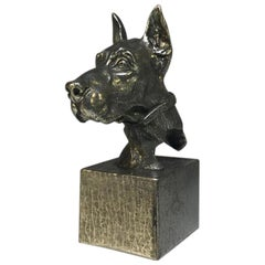 Superbly Cast Pewter Great Dane Dog Sculpture Vintage Desk Paperweight