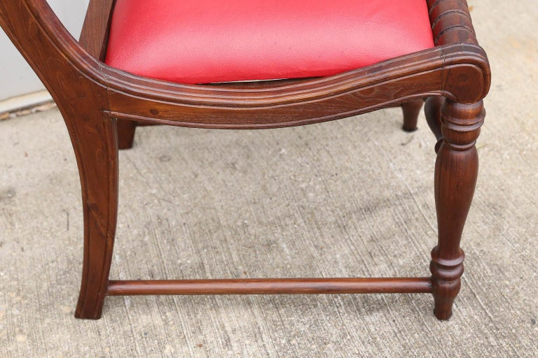 Superbly Crafted Stylized Modern Teak Wood and Fine Leather Dinning Chairs For Sale 3