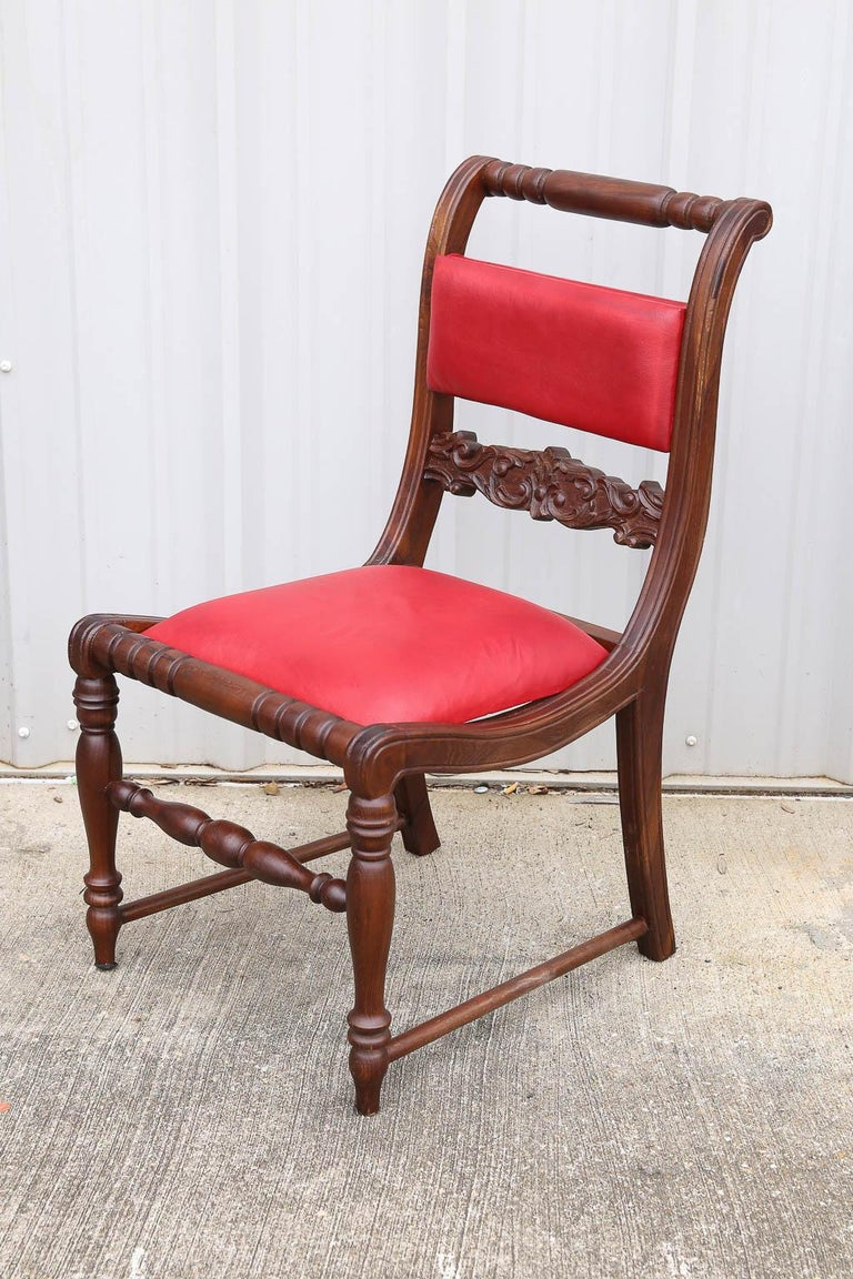 Anglo Raj Superbly Crafted Stylized Modern Teak Wood and Fine Leather Dinning Chairs For Sale